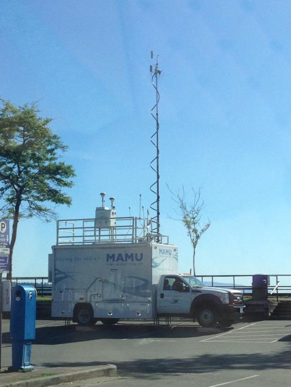 Mobile Air Monitoring Unit  located just East of the Boat launch